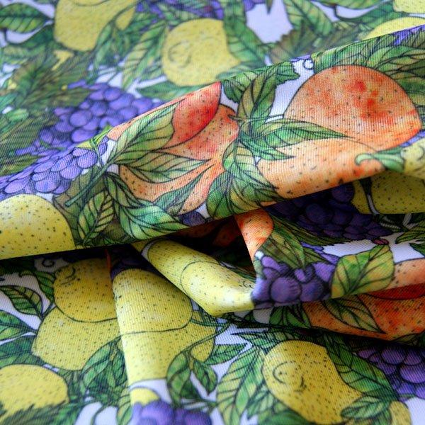 MondoAgile - Stampa Sublimatica su tessuto - Dettaglia stampa motivo frutta su tessuto