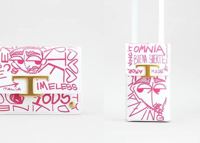 MondoAgile - Stampa Digitale su Pelle - Dettagli fantasie su pelle - Borsa a mano e porta cellulare con stampa fumetto rosa