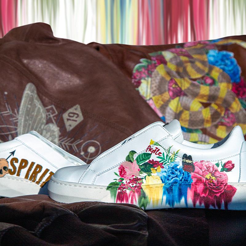 MondoAgile - Stampa Diretta - Dettagli stampa fantasia fiori su sneaker e giacca di pelle